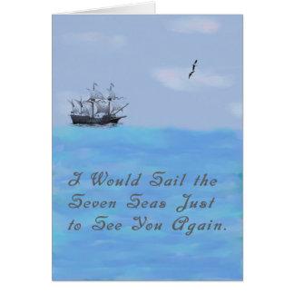 Faltando o cartão com navio e mares