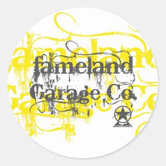 Fameland Garagem Empresa - edição amarela Adesivo Em Formato Redondo
