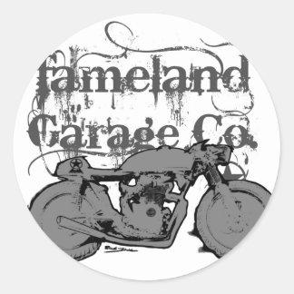 Fameland Garagem Empresa - edição do azul do Adesivo