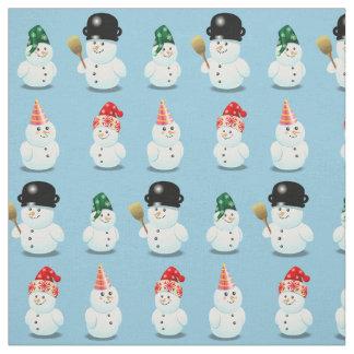Família bonito dos bonecos de neve tecido
