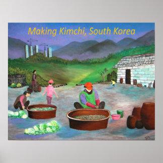Família coreana que faz o 김치 de Kimchi Pôster