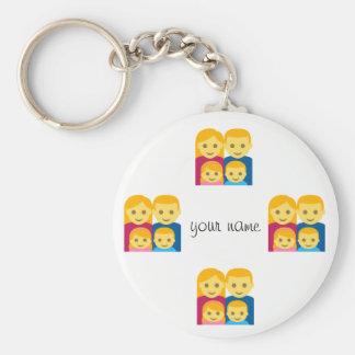 """Família de Emoji e '' seu nome aqui """" Chaveiro"""