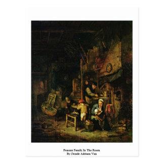 Família do camponês na sala por Ostade Adriaen Van Cartões Postais