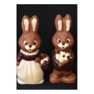 Família do coelhinho da Páscoa do chocolate Cartões De Visitas