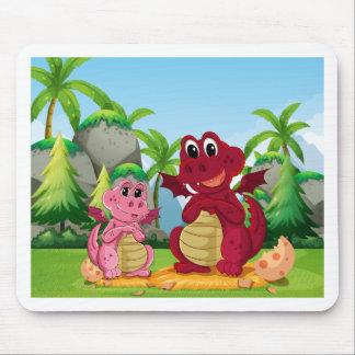 Família do dragão mouse pad