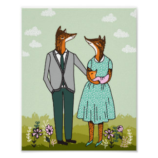 Família do Fox - é um poster do bebê da menina
