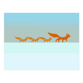 Família do Fox no cartão da neve