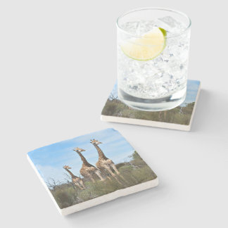 Família do girafa porta copos de pedra