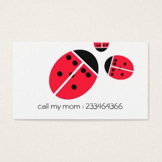 família do joaninha cartão de visitas