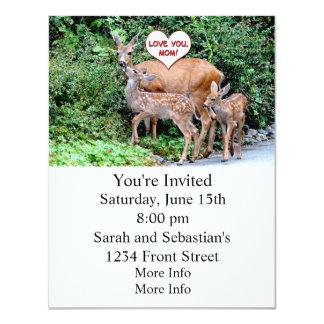 Família dos cervos do dia das mães convite 10.79 x 13.97cm