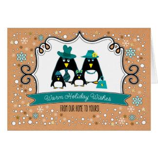 Família engraçada do pinguim de 4 cartões de Natal