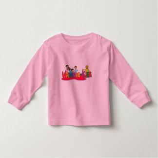 família longa dos walabookies da luva da criança t-shirt