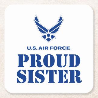 Família orgulhosa - logotipo & nome pequenos da porta-copo de papel quadrado