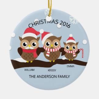 Família personalizada BONITO da coruja do Natal 3 Ornamento De Cerâmica