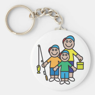 Família que vai pescando o chaveiro