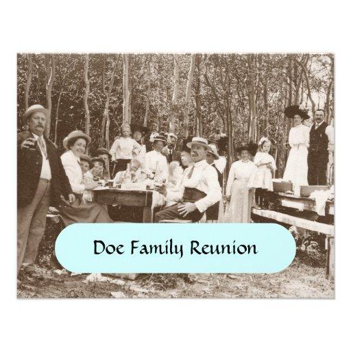 Família retro do vintage em convites da reunião do