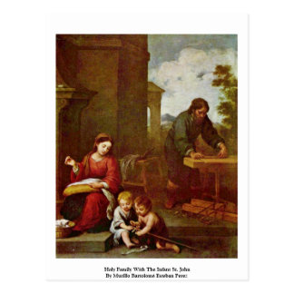Família santamente com o St John infantil Cartoes Postais