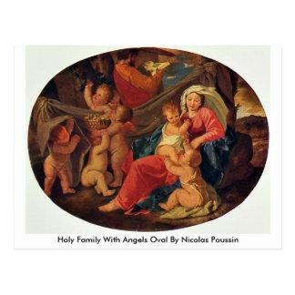 Família santamente com os anjos ovais por Nicolas Cartão Postal