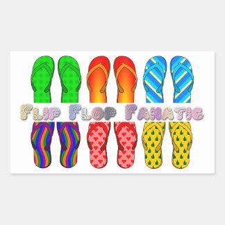 Fanático do flip-flop adesivo retangular