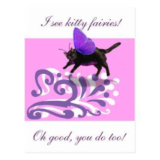 Fantacy roxo da fada do gatinho da lavanda cartões postais