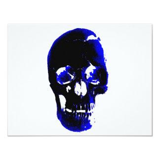 Fantasia azul do pop art do crânio convite 10.79 x 13.97cm