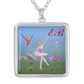 Fantasia do balé, flores, borboleta, monograma bijuteria personalizada
