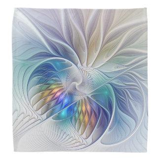 Fantasia floral, flor abstrata colorida do Fractal Pano Para Cabeça