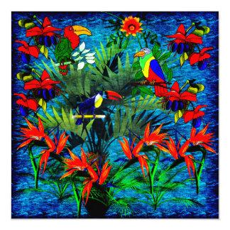 Fantasia tropical convite quadrado 13.35 x 13.35cm