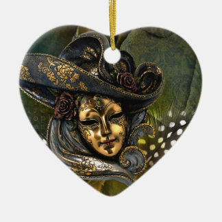 Fantasia Venetian da máscara Ornamento De Cerâmica Coração