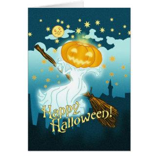 Fantasma da abóbora do Dia das Bruxas do vintage Cartão Comemorativo