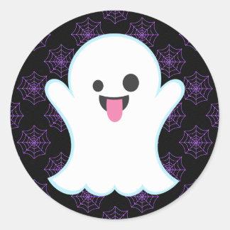 Fantasma de Emoji em etiquetas de Spiderwebs o Dia