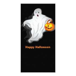 Fantasma do Dia das Bruxas com abóbora Cartão Com Foto