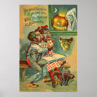 Fantasma do gato preto da lanterna de Jack O da ab Poster