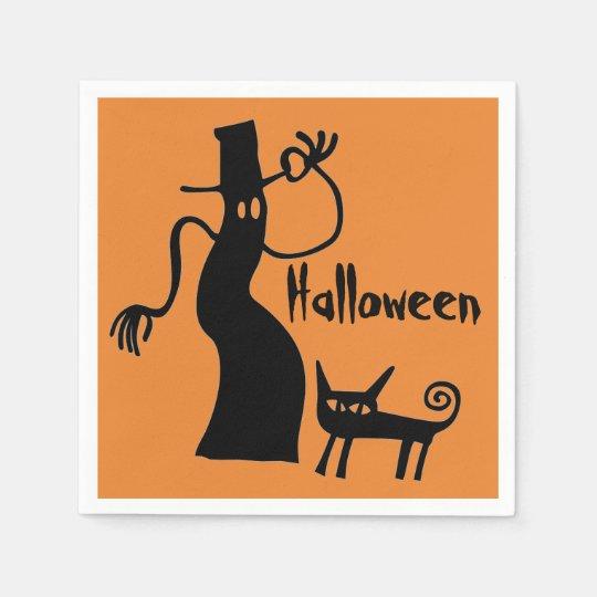Fantasma e gato preto guardanapo de papel