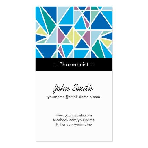 Farmacêutico - geometria abstrata do azul modelos cartoes de visitas