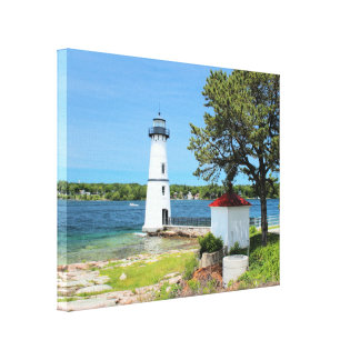 Farol da ilha da rocha, canvas de New York