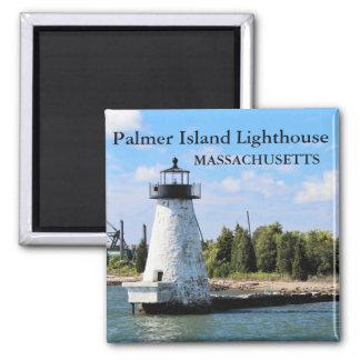 Farol da ilha de Palmer, ímã #2 de Massachusetts Ímã Quadrado