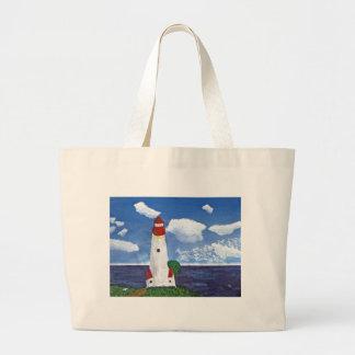 Farol do dia com pintura da vista para o mar bolsas para compras