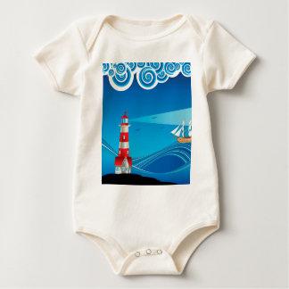 Farol e barco no mar 5 body para bebê