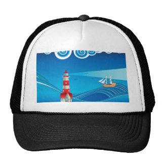 Farol e barco no mar 5 boné