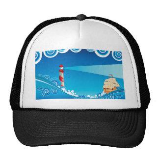 Farol e barco no mar 6 boné