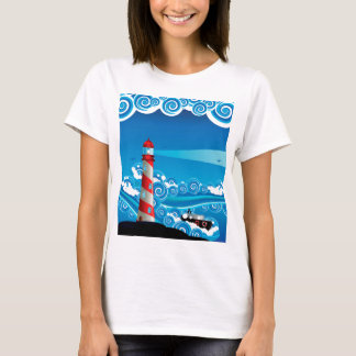 Farol e barco no mar 7 camiseta
