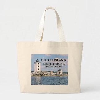 Farol holandês da ilha, Rhode - sacola da ilha Bolsa Tote Grande