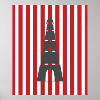 Farol náutico listrado vermelho posteres