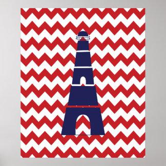 Farol náutico vermelho e azul de Chevron Poster