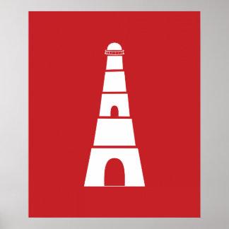 Farol náutico vermelho e branco poster