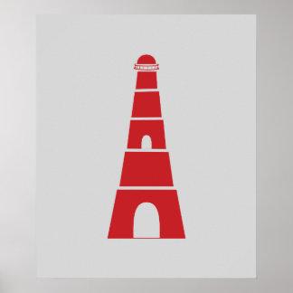 Farol náutico vermelho e cinzento poster