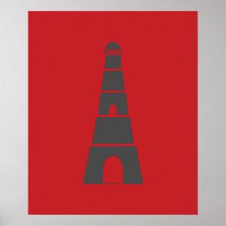 Farol náutico vermelho e cinzento