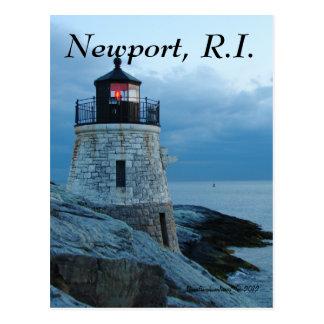 Farol Newport do monte do castelo, cartão de RI