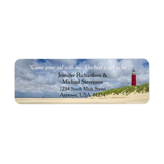 Farol no casamento ocasional da praia etiqueta endereço de retorno
